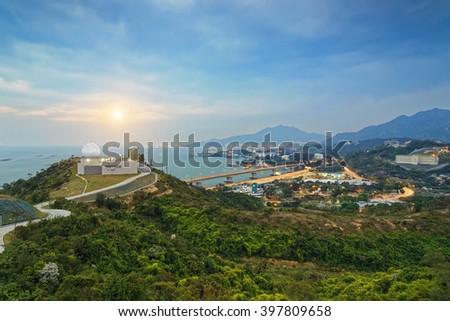 Hong Kong observatory at Tai Lam , sunset - stock photo