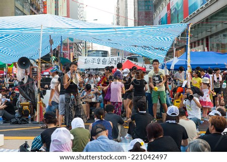 HONG KONG, OCT 1: Crowd of protesters occupy the road in Mongkok on 1 October 2014. Hong Kong people are fighting for a real universal suffrage for the next chief executive election.