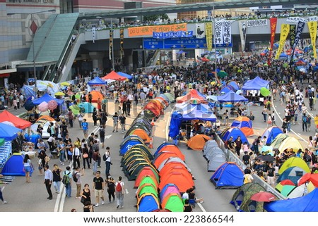 HONG KONG, OCT 13: people set up the tents for long time occupation in Admiralty on 13 October 2014. people is still insist in occupy protest during the umbrella revolution - stock photo