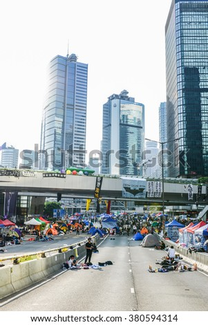 HONG KONG, OCT 2014: Tents set up to block the road at the Admiralty during Umbrella Revolution.
