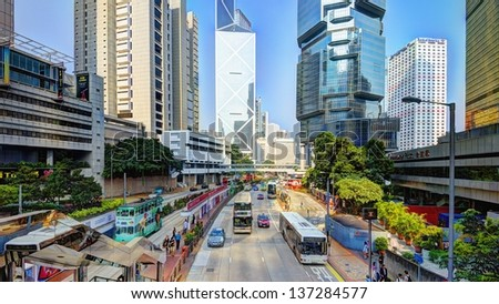 HONG KONG - OCTOBER 10: Pedestrians and traffic on Hong Kong Island October 10, 2012 in Hong Kong, S.A.R. The city is one of the world's leading Financial Centres.