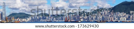 hong kong panoramic skyline at day