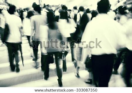 Hong Kong People Commuters City Walking Pedestrian Concept - stock photo
