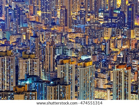 Hong Kong Public living housing apartment at night