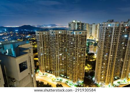 Hong Kong residential building at night - stock photo
