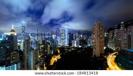 Hong Kong residential district at night - stock photo