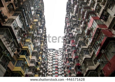 Hong Kong residential housing. Old apartment building in Hong Kong