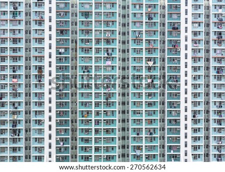 Hong Kong residential housing. The city is famous for its high density residential towers. - stock photo