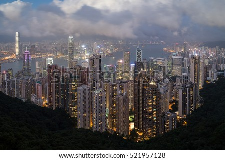 Hong Kong's famous skyline viewed from the Victoria Peak in the evening.