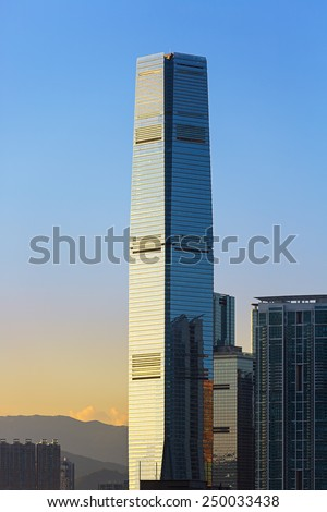 HONG KONG - September 16 2014: The International Commerce Centre in Hong Kong. ICC is a commercial space luxury residential development, modern retail and two 6-star hotels in a single location.