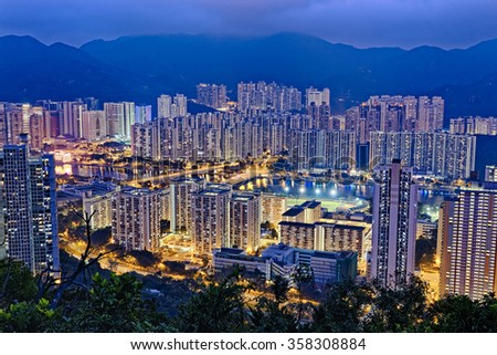 Hong Kong Sha Tin at Night - stock photo