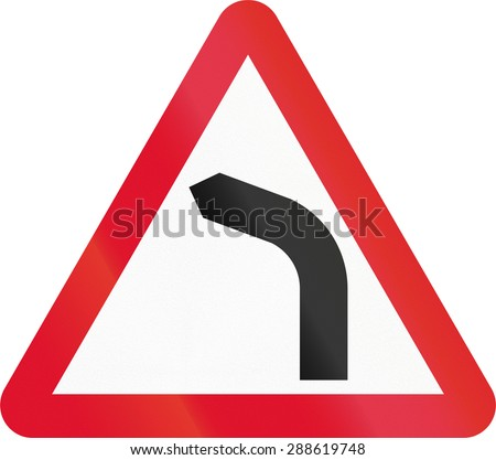 Hong Kong sign warning about a left curve. - stock photo