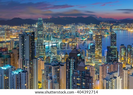Hong Kong skyline aerial view from victoria peak. - stock photo