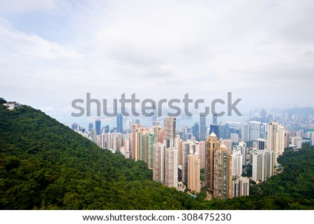 Hong Kong Skyline as seen from the Peak. - stock photo