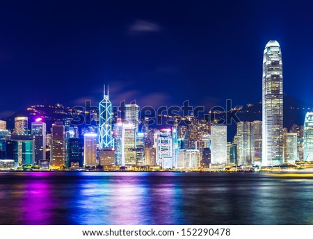 Hong Kong skyline at night - stock photo