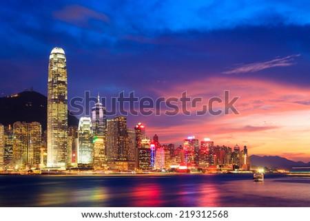 Hong Kong skyline at night, China - stock photo