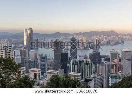 Hong Kong Skyline at Sunset - stock photo