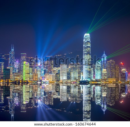 Hong Kong skyline at Victoria Harbor.