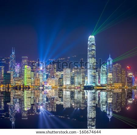 Hong Kong skyline at Victoria Harbor. - stock photo