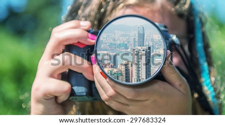 Hong Kong skyline from the eyes of a little girl. - stock photo