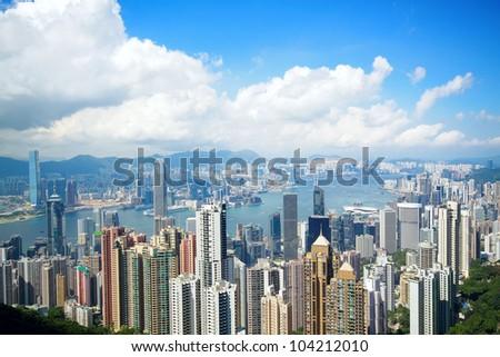 Hong Kong skyline from Victoria Peak - stock photo