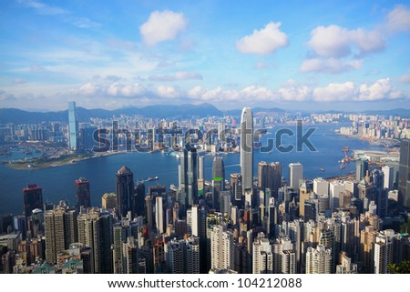 Hong Kong skyline from Victoria Peak - stock photo