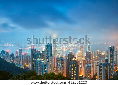 Hong Kong skyline. View from Victoria Peak. - stock photo