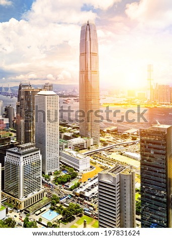 Hong Kong skyline with sunset - stock photo
