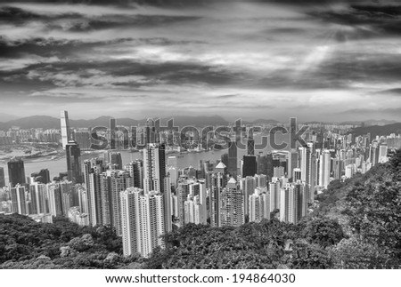Hong Kong stunning skyline at dusk.