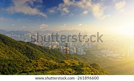 hong kong sunrise on mountain - stock photo