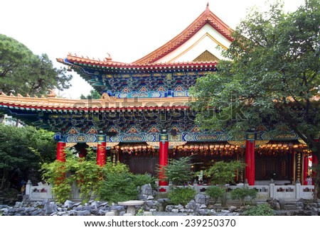 Hong Kong. The Temple Wong Tai Sin. The temple Wong Tai Sin is a popular Taoist temple, in which there are adherents of Buddhism and Confucianism.  - stock photo