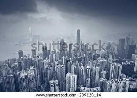 Hong Kong. Toned image of Hong Kong with many skyscrapers. - stock photo