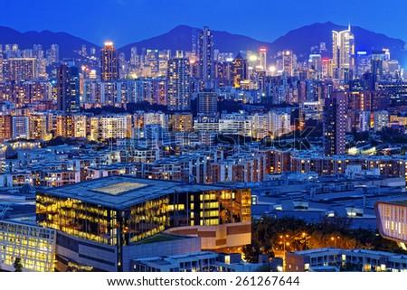 hong kong urban city at night - stock photo