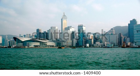 Hong Kong Victoria Harbor skyline. More with keyword Series09. - stock photo