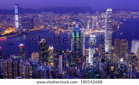 Hong Kong Victoria Harbour at Night - stock photo