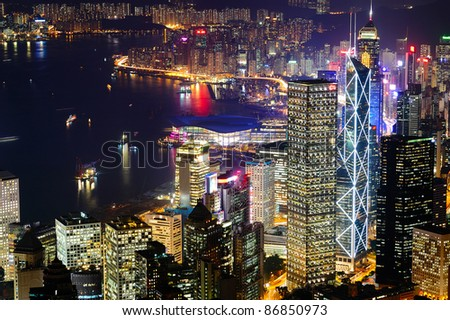 Hong Kong Victoria Harbour at night (aerial)