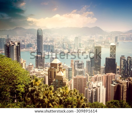 Hong Kong, view of the city and the bay from Victoria Peak - stock photo