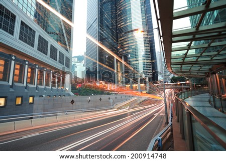 HongKong at city road light trails of streetscape buildings backgrounds - stock photo