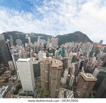 Hongkong bird view - stock photo