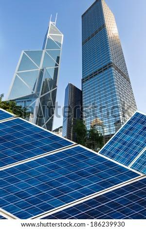 hongkong Bund skyline landmark ,Ecological energy renewable solar panel plant - stock photo