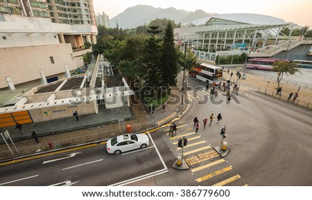 HONGKONG - FEBRUARY 22, 2016: The traffic road and building at down town in rush hour in twilight time.