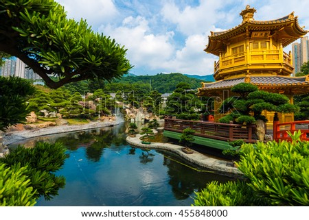 Hongkong Temple Pavilion of Absolute Perfection in the Nan Lian Garden with river, Hong Kong. - stock photo