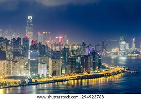 Hongkong with Air Pollution at Night - stock photo