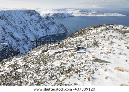 Honningsvag is the northernmost city of Norway. Nordkapp municipality Finnmark county. Norway North cape North cape cliffs Norwegian sea - stock photo