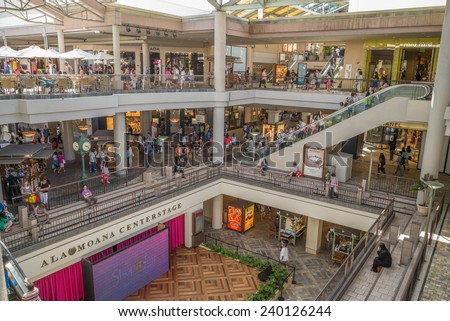 Honolulu, Dec. 24, 2014:  Honolulu's premier shopping mall, Ala Moana Center.  Honolulu, Hawaii, USA.  Dec. 24, 2014 - stock photo