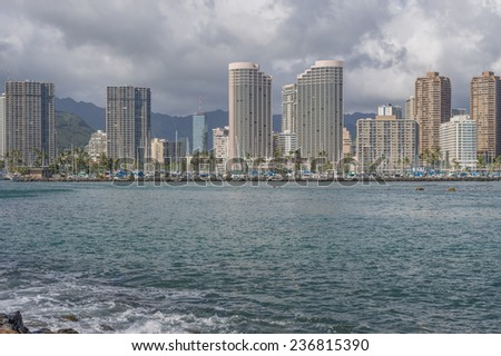Honolulu, Dec. 8:  The Ala Moana Channel leading to the State of Hawaii, Ala Wai Boat Harbor.  Honolulu, Hawaii, USA.  Dec. 8, 2014.