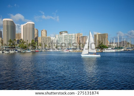 Honolulu downtown with seafront - stock photo