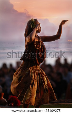 HONOLULU, HAWAII - FEBRUARY 10: Native Hawaiians dancing and playing music at the Native Hawaiian Festival at Waikiki Beach, Honolulu, on the evening of February 10, 2009 - stock photo
