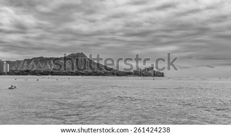 Honolulu, Hawaii, USA.  March 17, 2015.  Isolated sea view of Waikiki waters and Diamond Head Crater on a cloudy day.