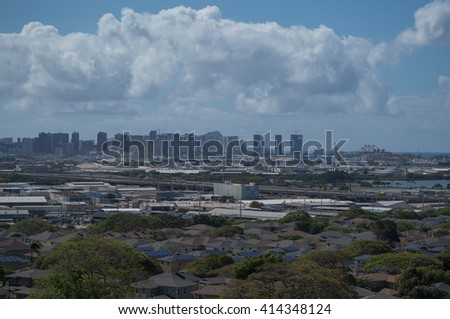 Honolulu, Hawaii, USA, May 2, 2016:  Morning view of Honolulu Hawaii with Diamond Head in the distant background.